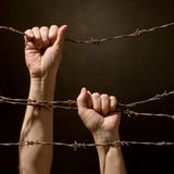Hand behind barbed wire Royalty Free Stock Photography
