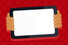 Hand Behind Color Tablet Holding Blank Screen Gadget Facing the Audience. Smartphone with White Touchscreen Handheld. Color Tablet Smartphone with Blank Screen royalty free illustration