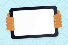 Hand Behind Color Tablet Holding Blank Screen Gadget Facing the Audience. Smartphone with White Touchscreen Handheld. Color Tablet Smartphone with Blank Screen stock illustration