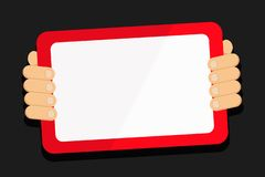 Hand Behind Color Tablet Holding Blank Screen Gadget Facing the Audience. Smartphone with White Touchscreen Handheld vector illustration