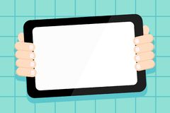 Hand Behind Color Tablet Holding Blank Screen Gadget Facing the Audience. Smartphone with White Touchscreen Handheld stock illustration