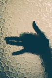 Hand behind the glass Royalty Free Stock Images