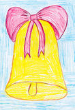 Hand bell with bow child drawing Royalty Free Stock Images