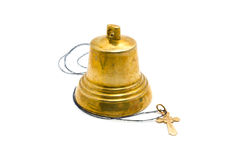 Hand bell and dagger. On a white background royalty free stock images