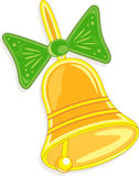 Hand bell with green bow, vector illustration Royalty Free Stock Images
