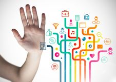 Hand besides digitally generated applications icon Stock Images