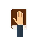 Hand on the Bible Vector Concept Flat Illustration. Human hand on the bible. Oath concept. Flat style vector illustration isolated on white background Royalty Free Stock Photos