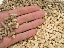 Hand and bicolored wood pellet Stock Photos