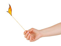 Hand with big burning match Royalty Free Stock Photo