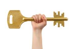 Hand and big key Stock Image