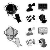 Hand bildskärm, hörlurar, kvinna Fastställda samlingssymboler för virtuell verklighet i svart, materiel för symbol för monochroms Arkivbild