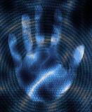 Hand and binary code Stock Photography