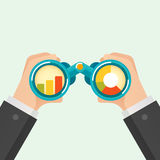 Hand and Binocular. Business vision concept. Vector illustration Royalty Free Stock Images