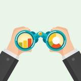 Hand and Binocular. Business vision concept. Vector illustration royalty free illustration