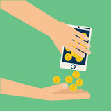 Hand bitcoin dollar Royalty Free Stock Photography