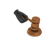 Hand in a black glove holding a gavel. 3d render. White backgrou Stock Images