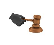 Hand in a black glove holding a gavel. 3d render Royalty Free Stock Image