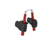 Hand in a black glove holding a nunchaku. 3d render. White backg Stock Images