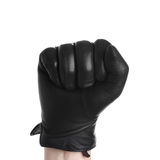 Hand with black glove leather doing zero sign isolated on white Royalty Free Stock Photography