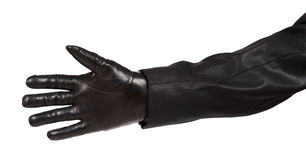 Hand in black leather glove and black suit Royalty Free Stock Photos
