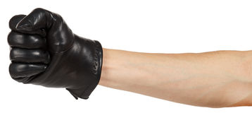 Hand in black leather glove Royalty Free Stock Photos