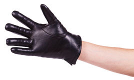 Hand in black leather glove Royalty Free Stock Image