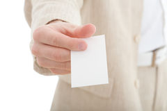 Hand with blank business card Stock Photography