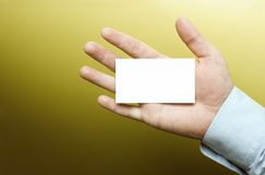 Hand with blank business card Stock Photos