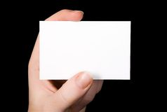Hand with blank business card Royalty Free Stock Photography