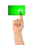 Hand and blank button Stock Photography