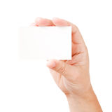 Hand and blank card Royalty Free Stock Photography