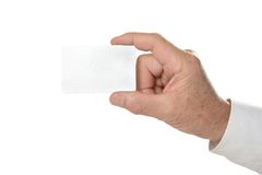 Hand with blank card Stock Photo