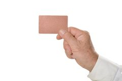 Hand with blank card Royalty Free Stock Photography