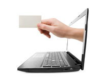 Hand with blank card and notebook Stock Photos