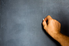 Hand on a blank chalkboard Stock Photography