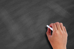 Hand on a blank chalkboard Royalty Free Stock Photo