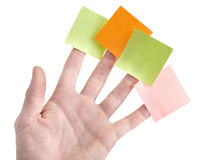Hand with blank colorful post it notes Royalty Free Stock Photo