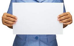 Hand with blank paper Stock Photo