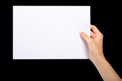 Hand with blank sheet of paper Royalty Free Stock Image