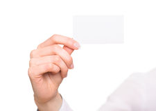 Hand with blank visiting card Stock Photos