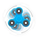 Hand blauwe spinner in motie vector illustratie