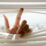 Hand and blinds Royalty Free Stock Images