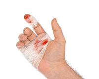 Hand with blood and bandage Royalty Free Stock Photography