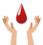 Hand with blood drop image Stock Images