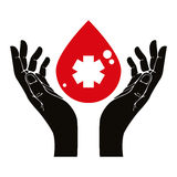 Hand with blood drop vector symbol Royalty Free Stock Images