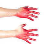 Hand in blood on a white background Stock Photography