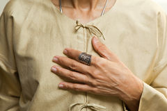 Hand and blouse Royalty Free Stock Images