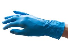 Hand in blue doctor medical latex glove isolated white background royalty free stock photos