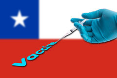 Hand in a blue glove holding syringe inject vaccine text on Chile flag background stock photography