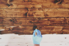 Hand In Blue Gloves Painting Wooden Furniture In Motion Blur Sty Royalty Free Stock Photo